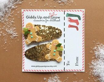 Holiday Hair Bows, Christmas Hair Clips Gingerbread Man, giddyupandgrow