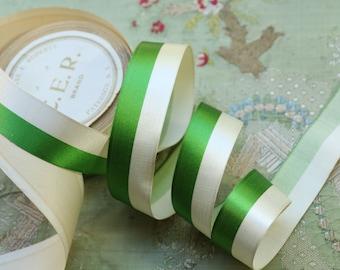 "1 yard Antique silk satin ribbon badge ribbonwork making green white  stripe shade 1"" wide  striped cocarde art deco millinery hat trim"