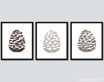 Pine Cone Art Prints / Pinecone Wall Art /  Pine Cone Prints / Pine cone Poster  / Pine Cone Woodland Decor / Aldari Art