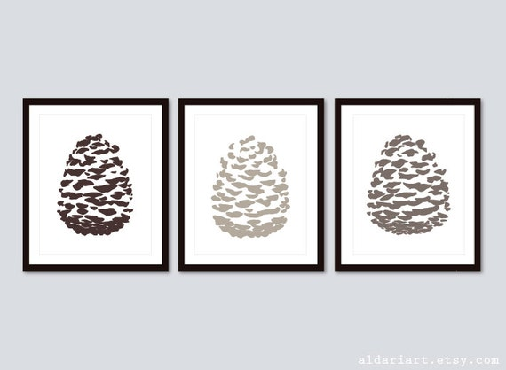 Pine Cone Art Prints / Pinecone Wall Art / Pine Cone Prints /
