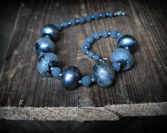 Black Lampwork Bead Necklace, Unique Handmade Textured Glass and Lava beads handblown glass Large glass Bead