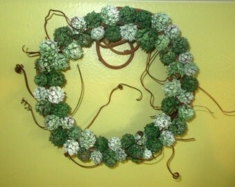 "7"" Shades of Green Grapevine Wreath, All Natural w/Tendrils, OOAK Country FREE SHIPPING!!!"