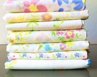 Vintage Sheet Fat Quarter Bundle - Sweet and Lovely Delicate Petite Florals - Set of 7