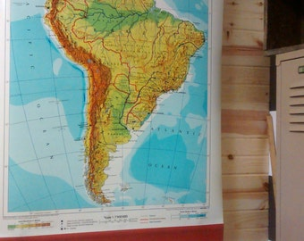 Original Vintage School Classroom Map of South America (English)