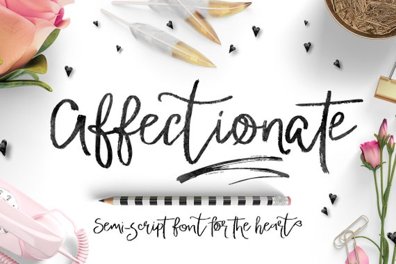 Valentines Day Digital Font - Affectionate Brush Script Font - Heart swashes