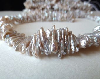 Lustrous Silver Stick Pearls - Biwa Stick Pearls - Center Drilled - High Luster - Gorgeous Quality (sp2)