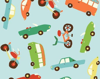 Blue Orange Green and Red Car Flannel, Wheels 2 By Deena Rutter for Riley Blake, Main Print in Blue, 1 Yard