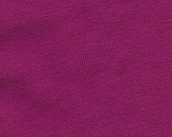 Deep Magenta 4 Way Stretch 9oz Cotton Lycra Jersey Knit Fabric, 1 Yard