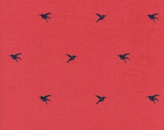 Coral and Navy Bird Cotton Fabric, Honeymoon By Sarah Watts for Cotton and Steel, Colibri Coral, 1 Yard