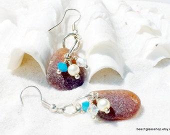 Genuine Sea Glass - Beachglass Earrings -  Lake Erie Beach Glass