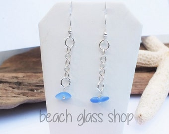 Sterling Lake Erie Beach Glass Earrings - Blue Glass Earrings - Pierced Beach Earrings - FREE Shipping inside the United States