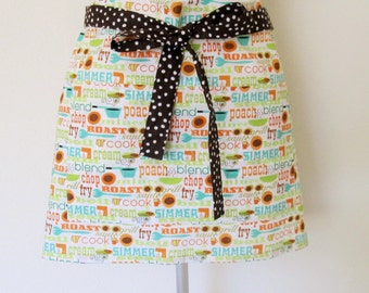 Half Apron - Cooking Words All over-chop, fry, blend, simmer and a brown polka dot strap to wrap around - vendor apron, fun to entertain in