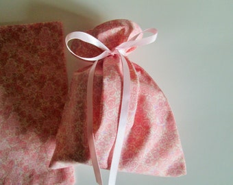 Cloth Gift/Party Bags  - A set of six (6) pink pretty petite roses gift bags