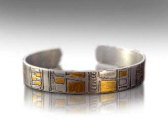 Mens silver cuff bracelet Keum boo bracelet Womans cuff bracelet unique cuff bracelet