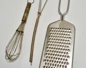 Vintage kitchen lot of 3 items - Whisk and grater - cheesegrits