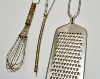 Whisk and grater - Vintage kitchen lot of 3 items - utensils - cheesegrits