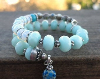 Amazonite - Sterling Silver Memory Wire Bracelet