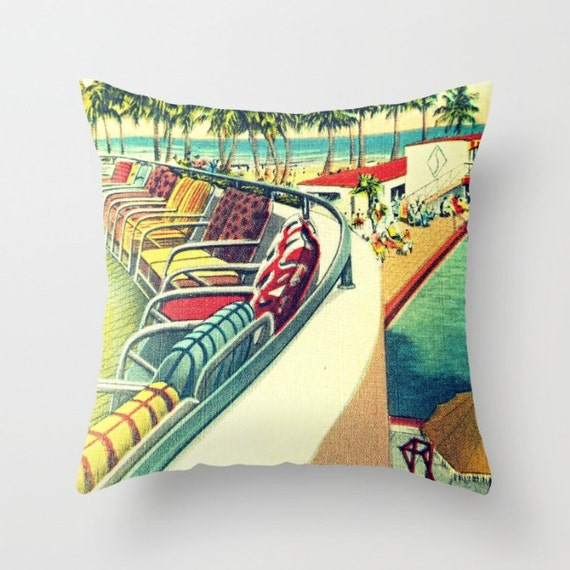 Mid Century Modern Pillow Cover Decorative Pillow by VintageBeach