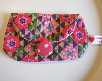 Mini Pouch, Business Card Holder, Credit Card Coin Purse, Teens, Kids, Women, Travel, Accessory, Polka Dots, Floral Pink Print, Gift Idea