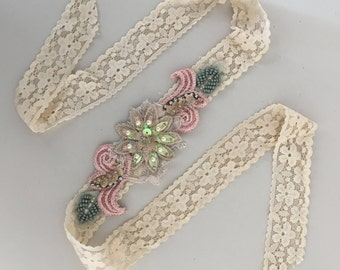 Dusty rose/Sage Beaded Lace Headband