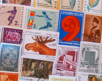 Beauties of the Black Sea 50 Vintage Bulgarian Postage Stamps Republika Bulgaria Sofia Eastern Europe Scrapbooking Worldwide Philately