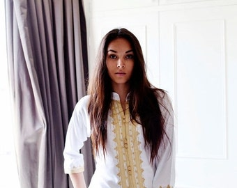 CIJ Sale Handmade White & Gold Moroccan Tunic-perfect for birthday gifts, beach, resort wear, honeymoon gifts, bohemian