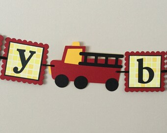 Small Fire Truck Happy Birthday Banner Red Yellow and Black Firetruck