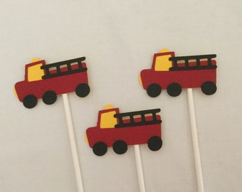 12 Red and YellowFiretruck  Cupcake Toppers Fire Truck birthday party decorations