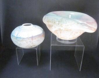 Tony Evans Lucite & Raku Ceramic Pots - A Pair   modernist organic fluid  sculptural art vessel sculpture bowl  SET