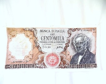 Linen Towel by Corit of F Masino Bessi Engraving of Italian Banknote of S Manzoni