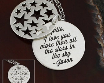 I Love You More Than All The Stars In The Sky - Personalized Necklace - Sterling Silver