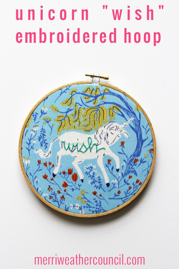 Unicorn art embroidery hoop hand stitched