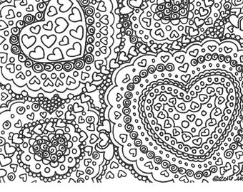 Mini coloring book set of of 4 Hearts and Mandalas for adult