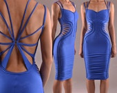 Open Back Hourglass Bodycon Dress - Cotton Jersey Cleavage Mididress  - Knee Length - Braided Strappy Dress - Form Fitting - Sexy Tube Dress