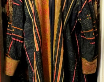 Outrageous Hand Tailored Jacket from Vintage Hmong Material, L/XL