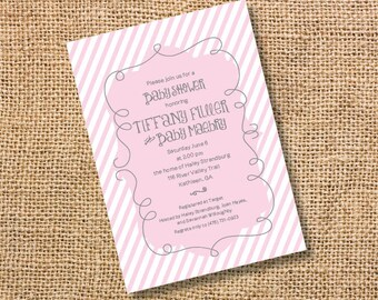 Pink Stripes Baby Girl Invitation Classic Pink & White Invite Bridal Shower Pink First Birthday Party Pink Twin Girls Invitation Birthday