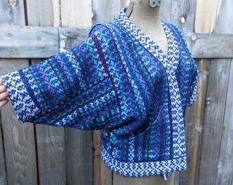 vintage handwoven jacket  blue ribbon weaver Rosepath weave M