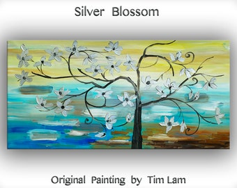 """Art, painting, Acrylic, Huge original modern Abstract Painting, Impasto Silver flower art, canvas art, by Tim Lam. Size: 48"""" x 24"""""""
