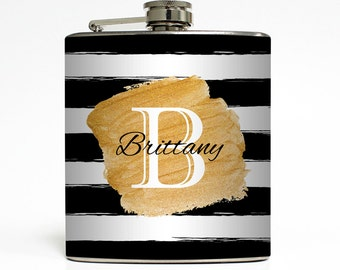 Custom Flask Personalized Rugby Stripe Gold Name Monogram Custom 21st Birthday Women Gifts Stainless Steel 6 oz Liquor Hip Flask LC-1572