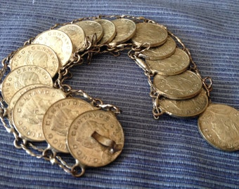 1960's Mexican Centavos Coin Bracelet - 17 coins - vintage - silver -  naturally tarnished look