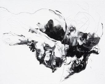 "Large Expressionist Figure Painting, original fine art acyrlic figurative art - 30 x 25"" -  canvas by Derek Overfield"
