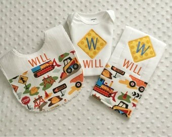 Baby Boy Personalized 3 Piece Gift Set  - Bib, Bodysuit, Burp Cloth- Construction Theme