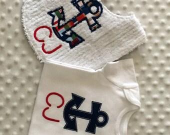 Baby Boy 2 PC Gift Set, Appliqued Anchor Bib and Bodysuit, Nautical Theme