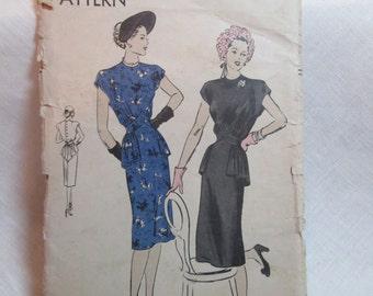 """Antique 1946 Vogue Dress Pattern #5643 - size 30"""" Bust"""