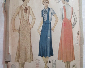 "Antique 1932 McCall Pattern #6007 - size 34"" Bust"