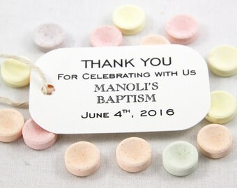 50 Thank You Gift Tags for Baptisms & Christenings favor gift tags- Sophisticated; Thank You for Celebrating with Us Customized with names