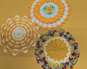 Mid-century Cheerful Doily Lot of 3 Red Blue Yellow