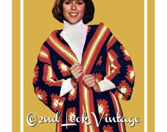 Vintage Crochet Pattern Granny Square Hooded Wrap Coat Digital Download PDF