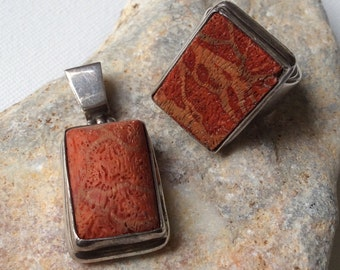 RING & PENDANT set sterling silver vintage turkish coral modern chic