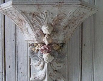 French Inspired Elegant Ornate Shabby White Sea Shell Encrusted  Wall Shelf Chippy Rusty Distressed  Faux Finish Showcase Keepsake Display